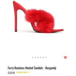 Shoes - NEW W/ TAGS: Red Fluffy Heels